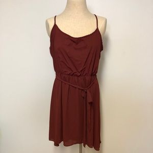 hi lo maroon drop waist dress